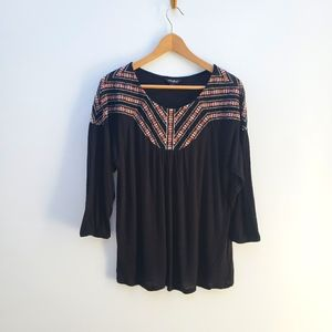 Lucky Brand Black Embroidered Knit Top Large
